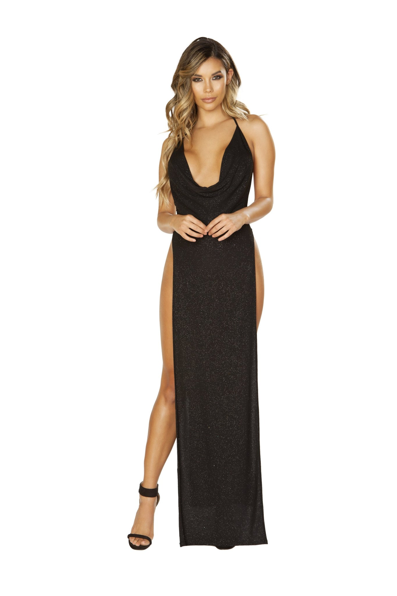 3665 Glittery Shimmer Cowl Neck Maxi Length Dress with High Slits