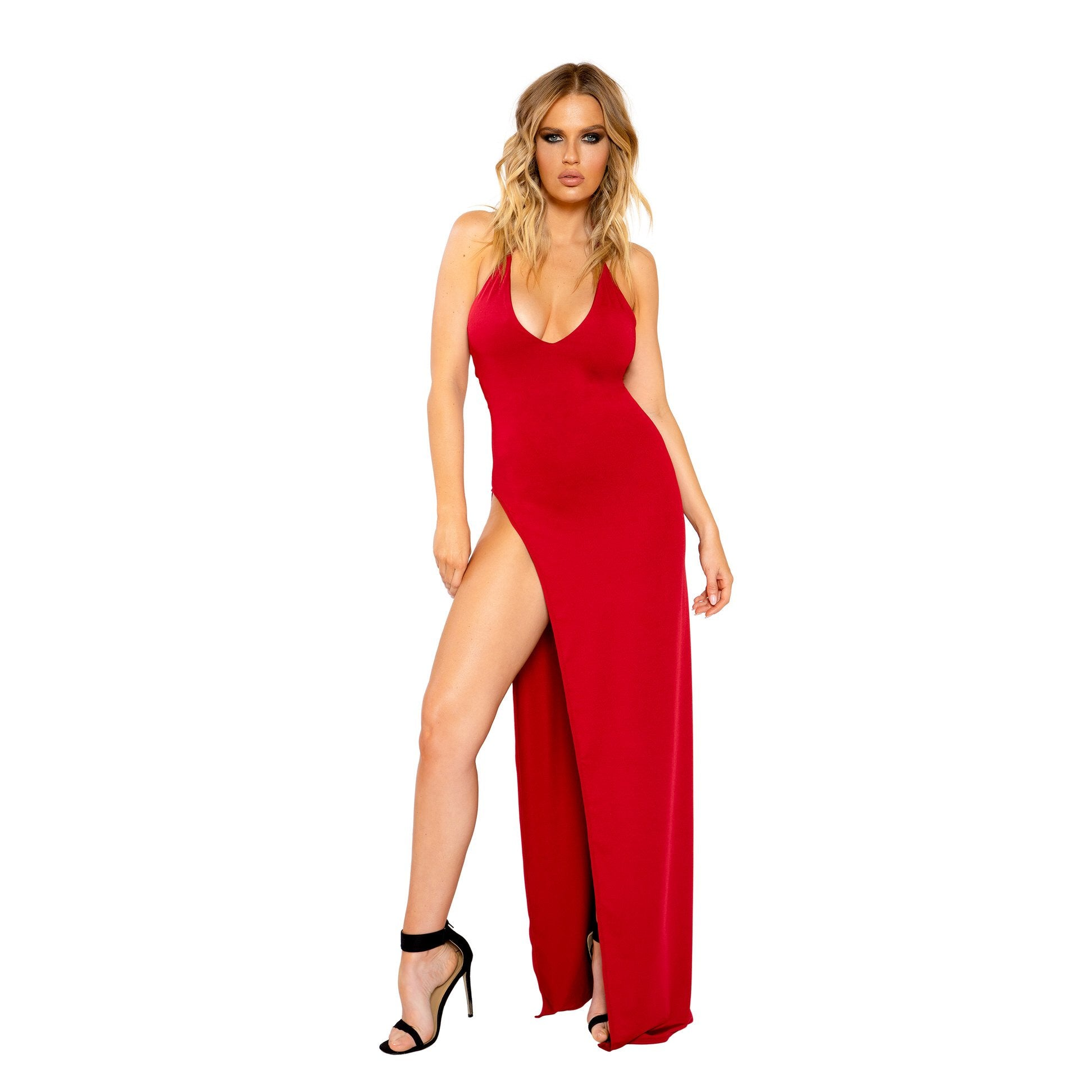 3800 - Maxi Length Dress with Deep V Detail and High Slit