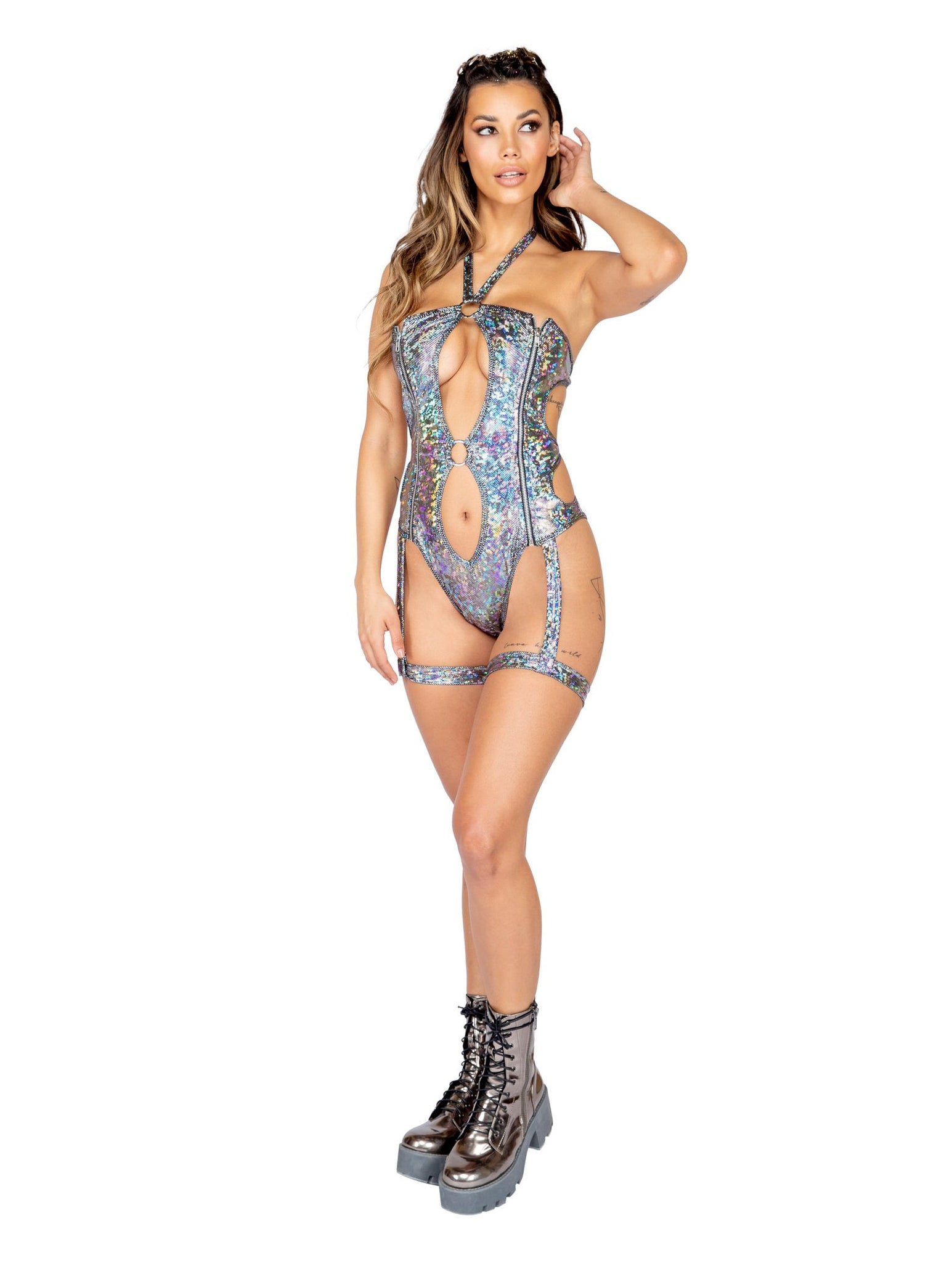 3815 - 1pc Iridescent Gartered Keyhole Romper with Zipper Closure