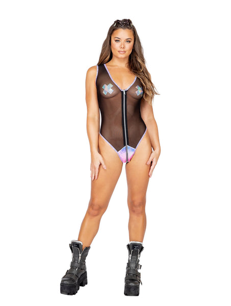 3862 - Sheer Romper with Zipper Closure & Snake Detail