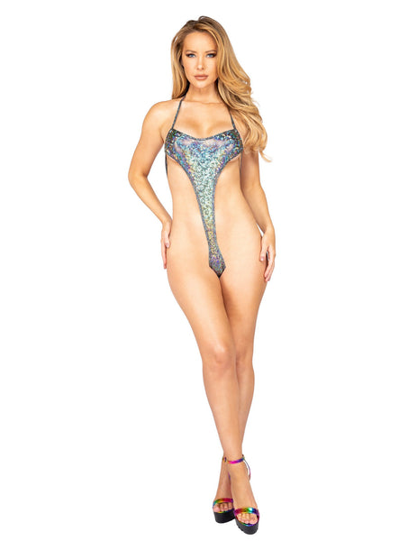 3901 - 1pc High Rise Shimmer Iridescent Romper