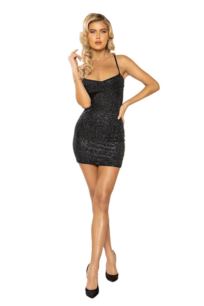 3927 - Glittered Velvet Mini Dress