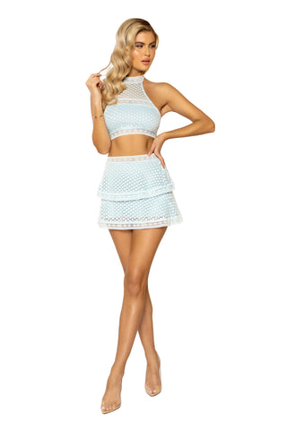 3937 - 2pc High-Waisted Lace Panel Tiered Skirt & Cropped Top