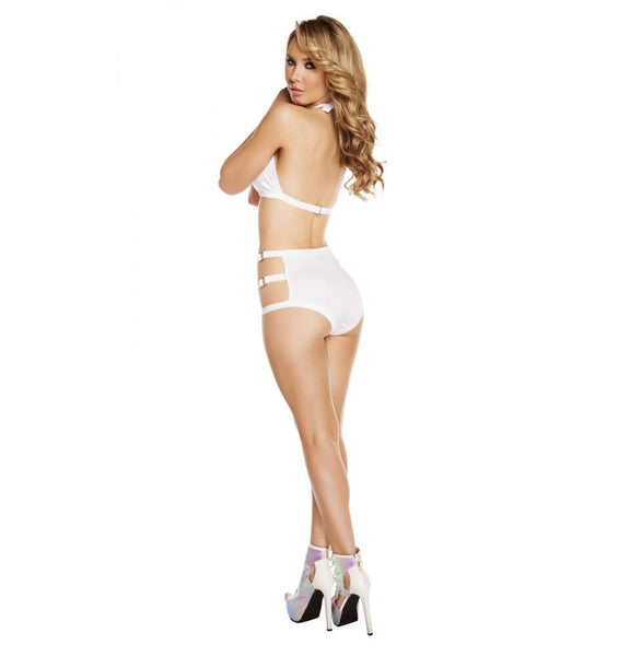 SH3194 - White - High-Waisted Shorts with Triple Strap & Square Ring Detail - Shorts - Roma Costume New Products,New Arrivals,Shorts - 4