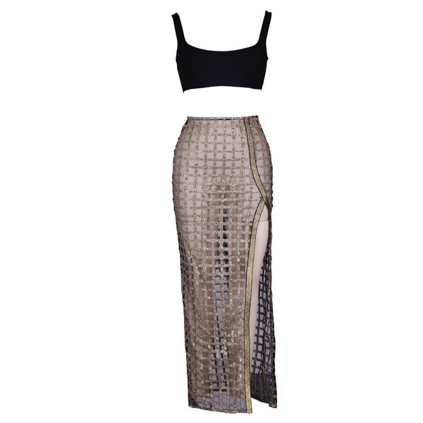 BLACK STRPY SLEEVELESS 2 PIECE SEQUIN SEXY BODYCON DRESS