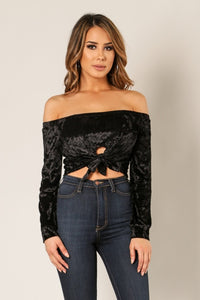 'CATORI' Off Shoulder Tie Front Velvet Crop Top - Black