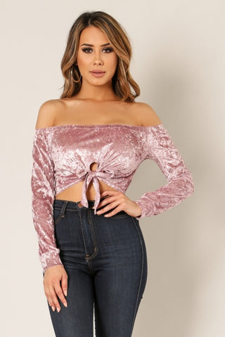 'CATORI' Off Shoulder Tie Front Velvet Crop Top - Blush