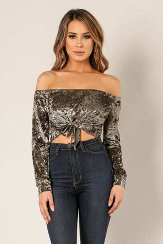 'CATORI' Off Shoulder Tie Front Velvet Crop Top - Olive