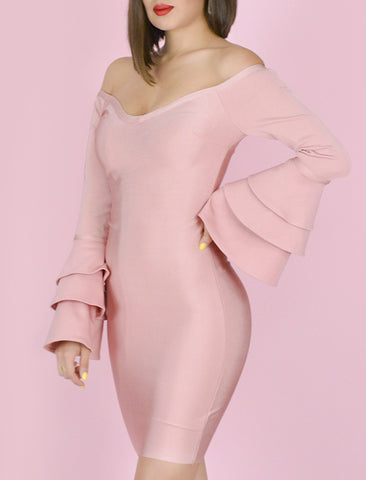 'GENESIS' Tiered Ruffled Long Sleeve Bandage Dress-Dusty Pink