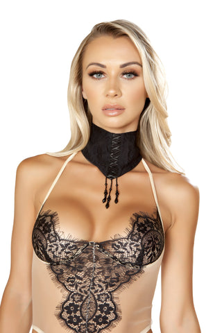 LI224 - Lace Choker with Lace-Up Detail & Dangling Beads