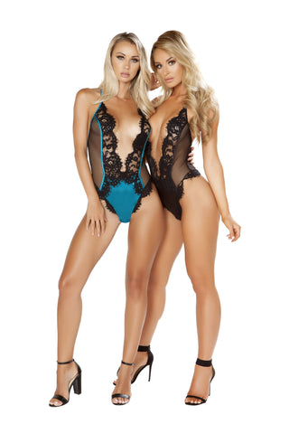LI243 - One Piece V-Shaped Eyelash Lace and Satin Teddy with Snap Bottom