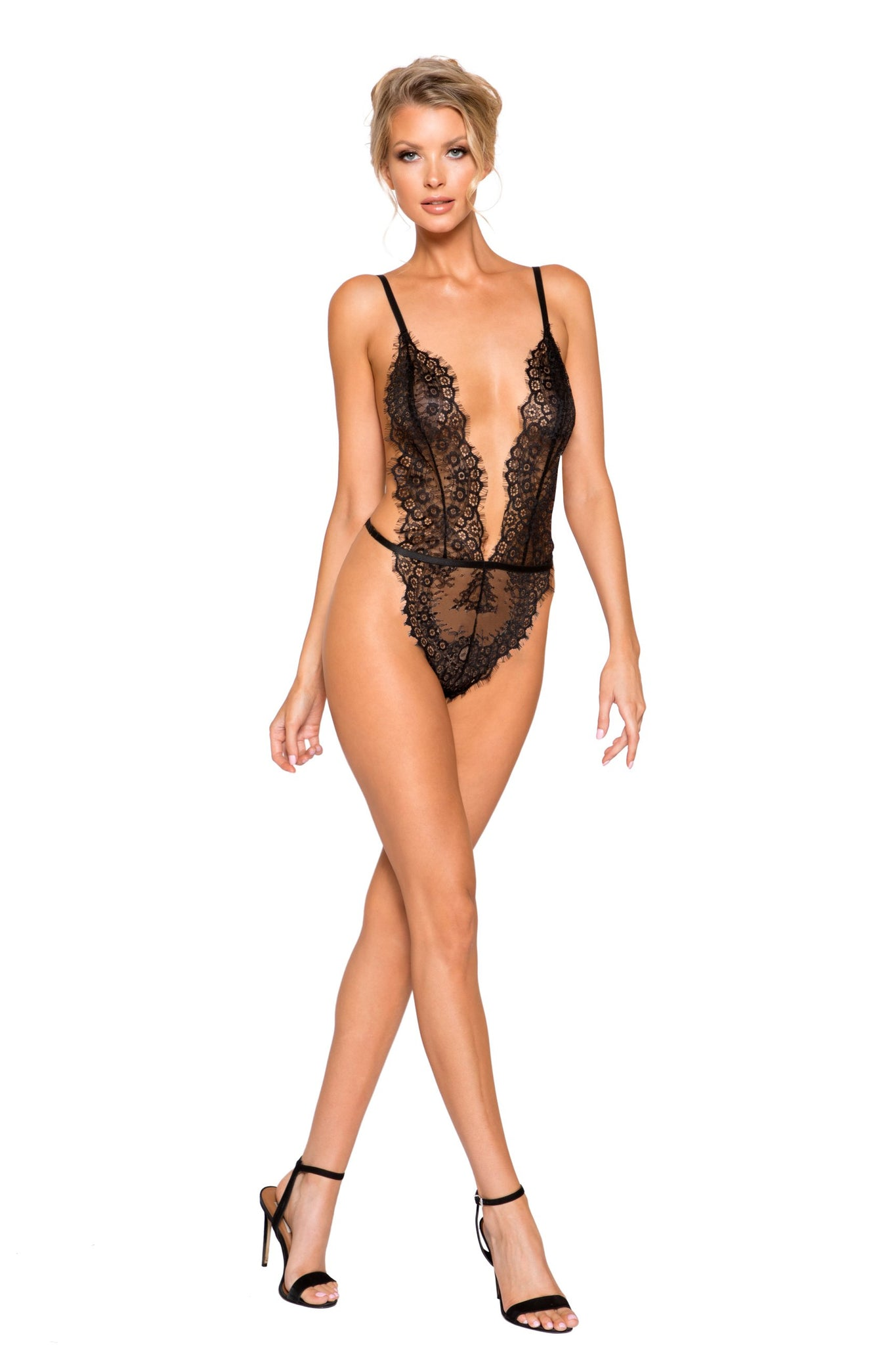 LI257 & LI258 - Simply Stunning Low Plunge & High Leg Eyelash Teddy