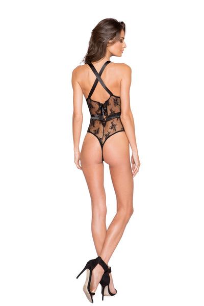 LI259 & LI260 - Satin & Lace Contrast Teddy with Snap Bottom