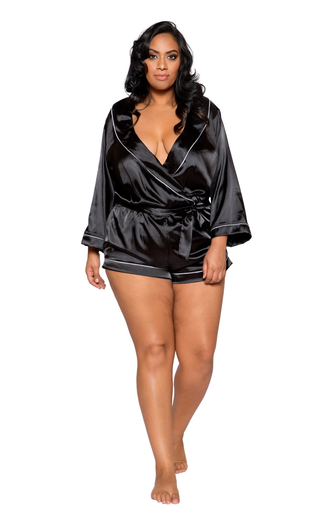 LI283 & LI285 - Chic Cozy Collared Satin Romper with Tie