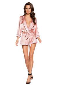 LI295 - Elegant Satin Collared Robe with Tie & Button Closure