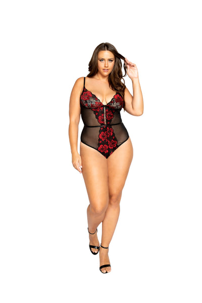 Floral Lace & Mesh Teddy with Lace-Up Trim