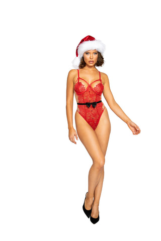 Roma Confidential LI362 Naughty Claus Eyelash Lace Teddy Sexy Naughty Claus Eyelash Lace Teddy with Button Detail and Black Bow Detailing with a G-String Back