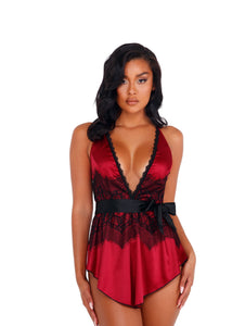 LI398 - 2pc Satin & Lace Babydoll with Tie