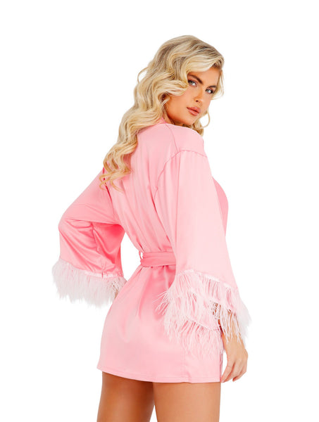 LI399 - Soft Satin Robe with Ostrich Feathered Trim