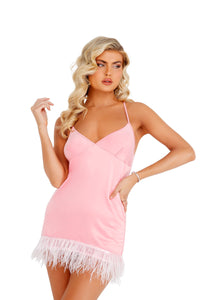 LI400 - Soft Satin Chemise with Ostrich Feathered Trim