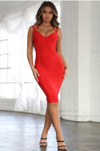 RED STRAPY SLEEVELESS MINI EVENING BANDAGE DRESS