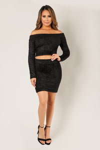 'JESSA' Two Piece Matching Long Sleeve Top and Skirt-Black