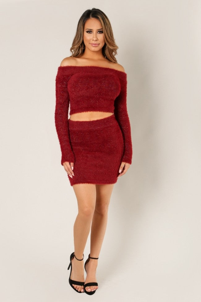 'JESSA' Two Piece Matching Long Sleeve Top and Skirt-Burgundy