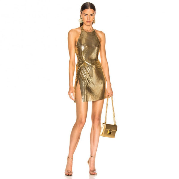 GOLD HALTER SLEEVELESS MINI BACKLESS SHINNIG BODYCON DRESS