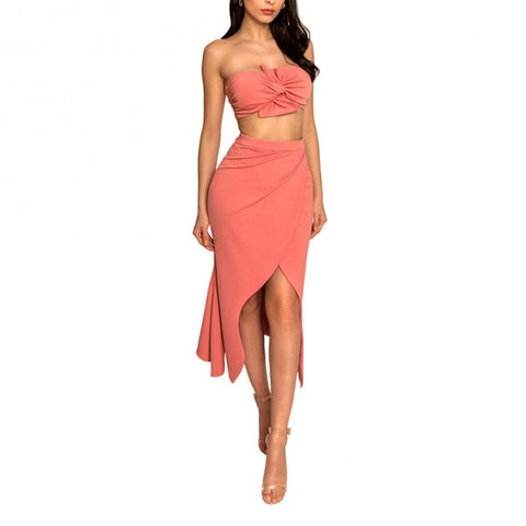 Orange strapless sleeveless 2-piece side slit maxi party bodycon