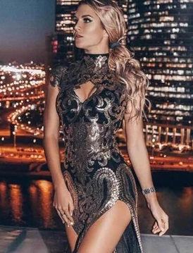 GOLD ROUND CAP SLEEVE MAXI CUTOUT SEQUINS FASHION BODYCON DRESS