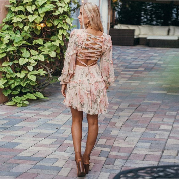 FLOWER V NECK LONG SLEEVE MINI CUT OUT LACE UP BACK FASHION BODYCON DRESS