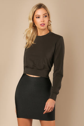 'BRITA' Long Sleeve Open Lace-up Back Sweater- Olive