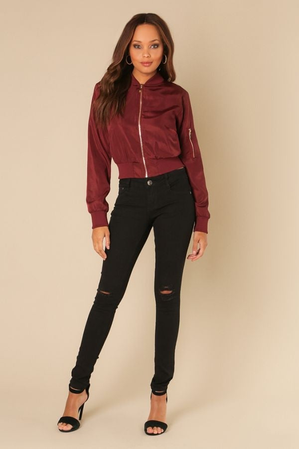 'JUJI' Lace Up Bomber Jacket-Merlot