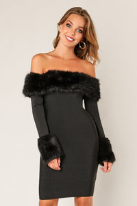 'STELLA' Faux Fur Long Sleeve Bandage Dress-Black