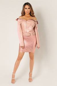 'BELLE' Faux Leather Fur Sleeve Belted Jacket- Dusty Pink