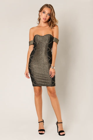 'BERANICE' Sweet Heart Style Lined Bandage Dress-Black Lt Gold