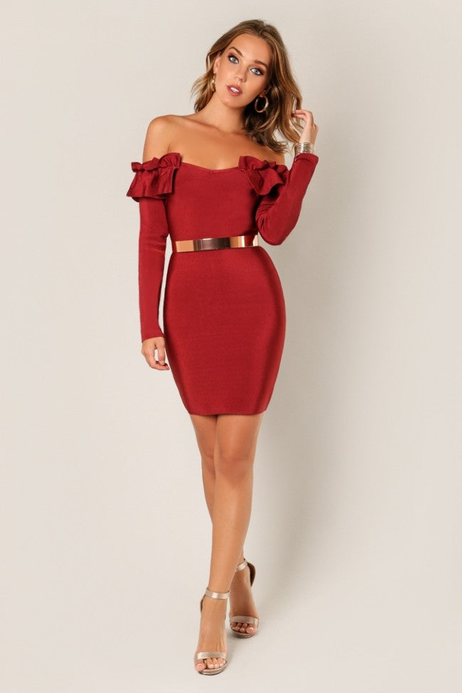 'IVY' Ruffled Off Shoulder Long Sleeve Bandage Dress-Burgundy