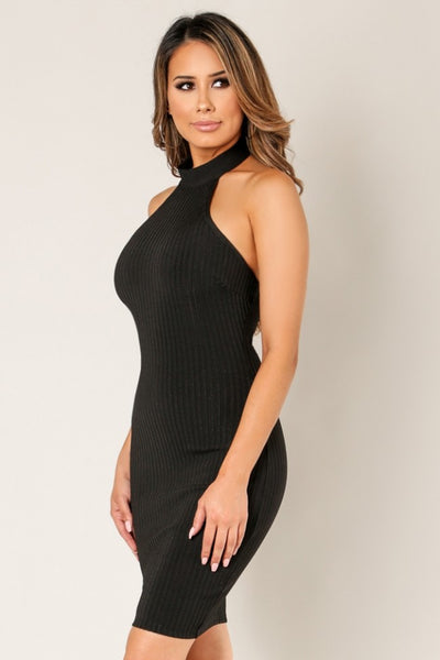 'SOPHIA' Ribbed Halter Neckline Bandage Dress-Black