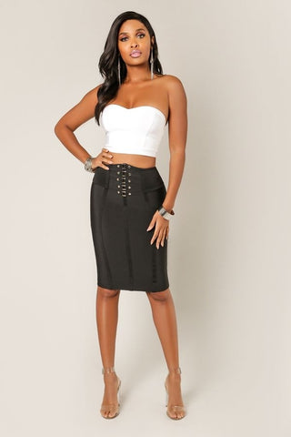 'NOELIA' Metal Fixture Bandage Pencil Skirt-Black-Small