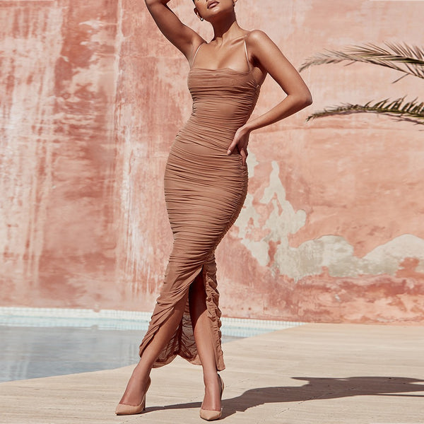 NUDE STRPY SLEEVELESS ONE PIECE SIMPLE RUCHED PARTY BODYCON DRESS