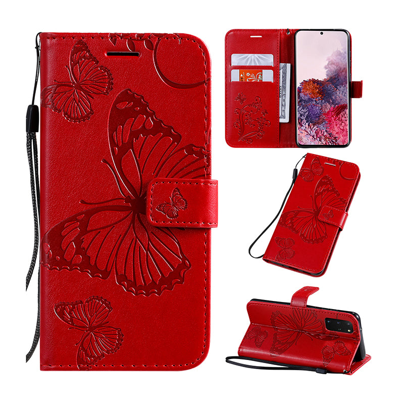 2021 Upgraded 3D Embossed Butterfly Wallet Phone Case For Samsung S20 Plus