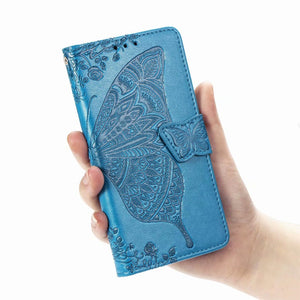2021 Luxury Embossed Butterfly Leather Wallet Flip Cover for iPhone