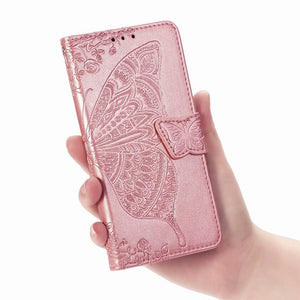 2020 Luxury Embossed Butterfly Leather Wallet Flip Case for LG Stylo 4