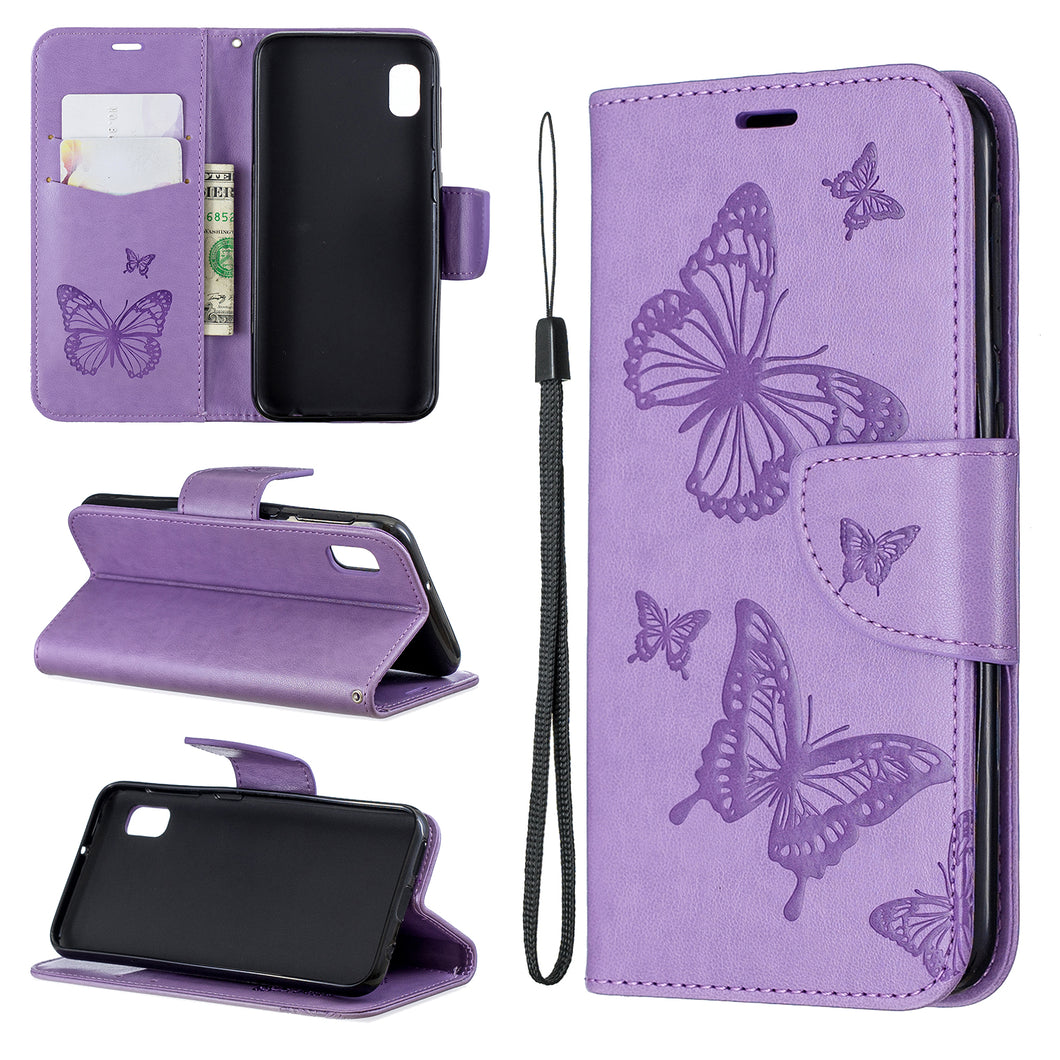 Embossed Butterfly Pattern Flip Phone Case For Samsung Galaxy A10e