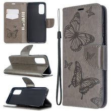 Load image into Gallery viewer, Embossed Butterfly Pattern Flip Phone Case For Samsung Galaxy S20