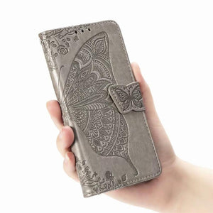 2021 Luxury Embossed Butterfly Leather Wallet Flip Case for LG