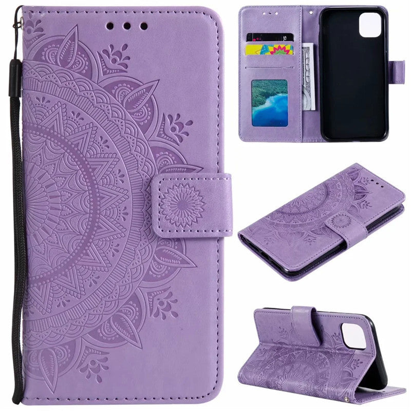 2020 Latest Sunflower Embossed Wallet Phone Case For iPhone