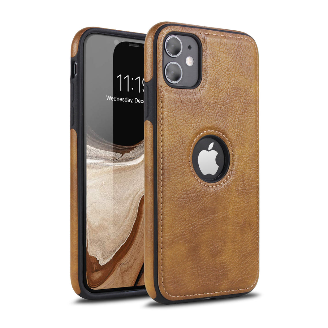 Luxury Leather Back Case For iPhone Shockproof Case With 9H Full-Screen Tempered Glass