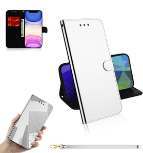 2020 New Mirror Surface Leather Wallet Case For Samsung Moto G7/G7 Plus
