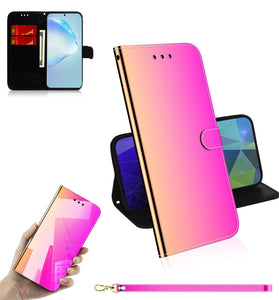 2020 New Mirror Surface Leather Wallet Case For iPhone